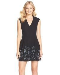Needle & Thread - Black Sequin Georgette Fit & Flare Dress - Lyst