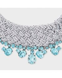 Paul Smith Blue Women's Teal Beaded And Tanzanite 'cleopatra' Necklace