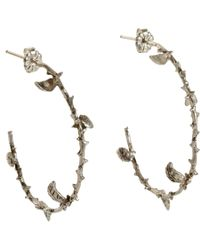 Pamela Love Metallic Silver Large Thorn Hoop Earrings