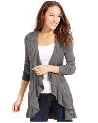 Style & Co. | Gray Long-sleeve Ruffle-trim Cardigan | Lyst