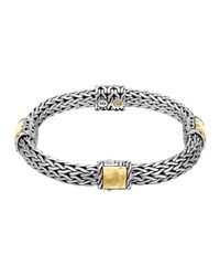 John Hardy | Metallic Classic Chain Palu Silver Bracelet With Gold Stations | Lyst