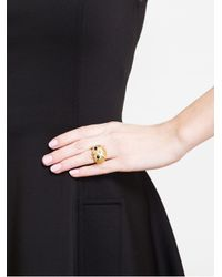 Yvonne Léon - Metallic Gold Onyx and Diamond Owl Ring - Lyst