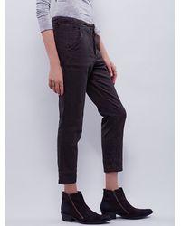 Free People | Brown Slim & Slouchy Trouser | Lyst