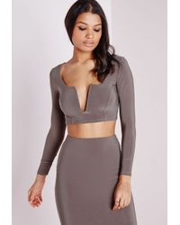 eea2ecfbfe6b2 Lyst - Missguided V Plunge Long Sleeve Crop Top Taupe in Brown