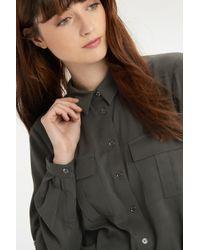 Oasis - Gray Twill Shirt Dress - Lyst