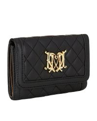 Love Moschino Black Quilted Logo Flap Wallet