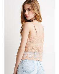 Forever 21 | Natural Floral-embroidered Mesh Cami You've Been Added To The Waitlist | Lyst