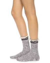 Free People Rugby Ruffle Ankle Socks Black Combo