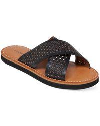 Lucky Brand Black Women's Dadeen Cross Band Flat Sandals