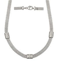 Lord & Taylor | Metallic Sterling Silver Cage Necklace With Diamonds | Lyst