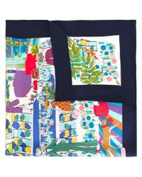 Ferragamo | Blue Illustrated Print Scarf | Lyst