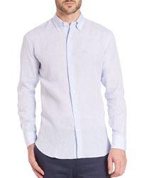 Ferragamo - Blue Solid Linen Sportshirt for Men - Lyst