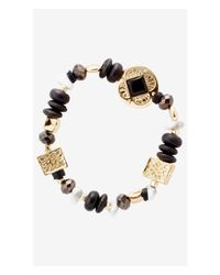 Express | Black Mixed Medallion And Bead Stretch Bracelet | Lyst