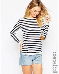 ASOS Black Tall Jumper In Stripe With Tan Suede Star Elbow Patches