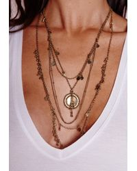 Missguided - Metallic Delicate Layered Boho Necklace Gold - Lyst