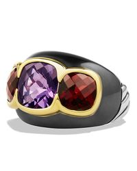 David Yurman Multicolor Renaissance Three-stone Ring With Amethyst, Garnet & Gold
