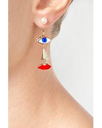 Delfina Delettrez | Blue Gold/Pearl/Enamel Anatomik Single Earring | Lyst