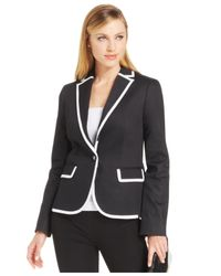 Jones New York | Black Contrast Trim Single-Button Blazer | Lyst