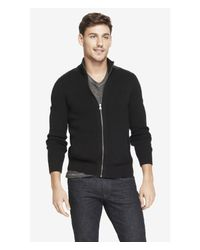 Express Black (Minus The) Leather Detail Zip Front Cardigan for men