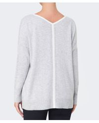 Duffy | Gray Stripe Back Cashmere Jumper | Lyst