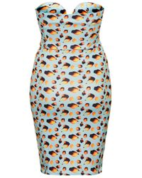 TOPSHOP | Blue Leopard Printed Body Con Dress By Oh My Love | Lyst