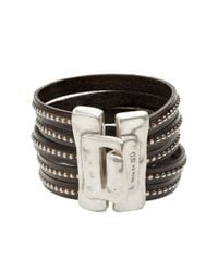 Uno De 50 Metallic Planted Leather Cuff Bracelet