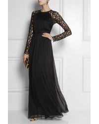 Temperley London - Black Long Lily Lace and Silkblend Chiffon Gown - Lyst