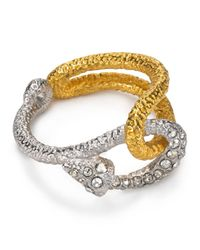 Alexis Bittar - Metallic Two Tone Crystal Encrusted Fish Hook Ring - Lyst