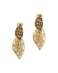 Oscar de la Renta - Metallic Leaf Clip On Earrings - Lyst