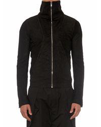 Rick Owens Black Geo Blister Leather Jacket for men