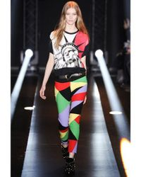 Fausto Puglisi Red Statue Of Liberty Printed Cotton T-Shirt