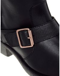 Dune Black Riff Biker Ankle Boot with Rose Gold Hardware