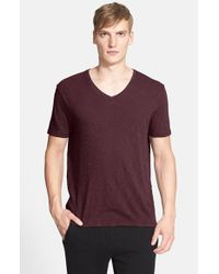 ATM | Purple Slub V-neck T-shirt for Men | Lyst
