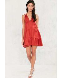 Ecote Orange Tunnel-strap Tiered Mini Dress