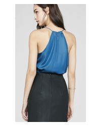 Express - Blue Barcelona Wet Look Cami - Lyst