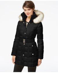 Betsey Johnson Black Faux-fur-hood Belted Puffer Coat