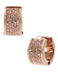 Michael Kors Pink Rose Goldtone And Crystal Huggie Hoop Earrings