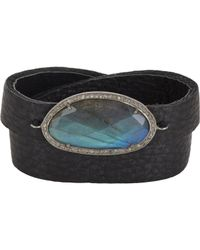 Feathered Soul Black Diamond, Labradorite & Leather Wrap Bracelet