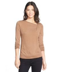 NIC+ZOE | Brown 'over The Moon' Asymmetrical Neck Top | Lyst