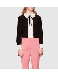 Gucci - Black Contrast Silk Button-down Shirt - Lyst
