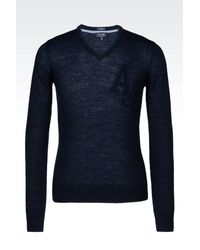 Armani Jeans | Blue V-neck Jumper In Wool Blend for Men | Lyst