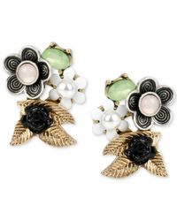 Betsey Johnson | Metallic Gold-tone Mixed Flower Stud Earrings | Lyst