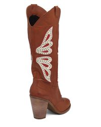 Jessica Simpson Brown Caralee Leather Cowgirl Boots