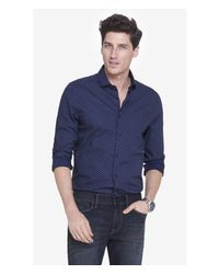 Express | Blue Modern Fit Dot Print Dress Shirt for Men | Lyst