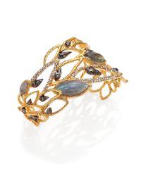 Alexis Bittar Blue Elements Phoenix Labradorite & Crystal Asymmetrical Rocky Cuff Bracelet