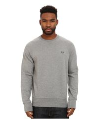 Fred Perry | Gray Loopback Crew Sweater for Men | Lyst