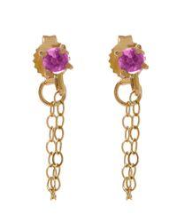 Melissa Joy Manning - Metallic Gold And Garnet Chain Stud Earrings - Lyst