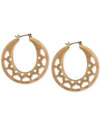 Lucky Brand | Metallic Gold-tone Openwork Hoop Earrings | Lyst