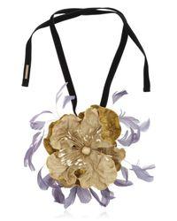 Dries Van Noten Yellow Velvet Floral Necklace