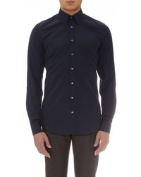 Gucci Blue Long-sleeved Cotton Shirt for men